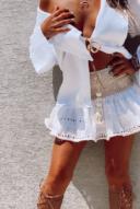 חולצת קלואי קרושה-לבן
