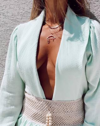 חולצת קלואי קרושה- מנטה