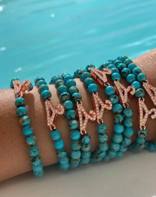 צמיד חרוז אבן חן- כחול ים