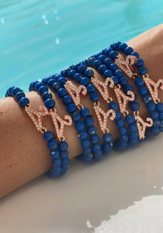 צמיד חרוז אבן חן- כחול רויאל