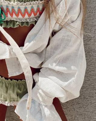 Natural linen shirt Cleo-white sleeve